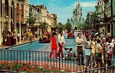 Walt Disney World Orlando Florida Vintage 1970's Main Street USA Retro Postcard