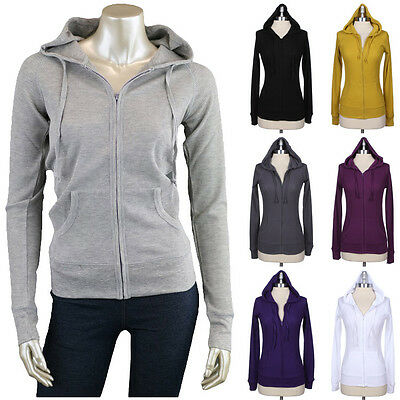 Classic Thermal Zip Up Hoodie Sports Jacket Pull over Knit Cardigan Hooded S M L