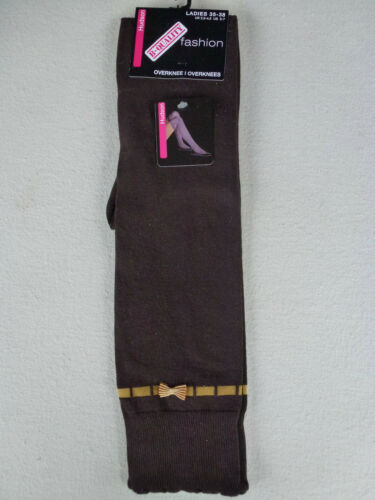 HUDSON Damen Overknee FASHION braun Schleifchen Gr 35-38 Kniestrümpfe Socken NEU