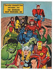 AVENGERS PIN-UP POSTER Vintage art Marvel UK British