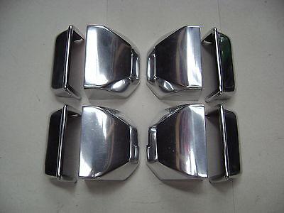 8 Caches serrures intérieur en aluminium poli (alu look) Citroen 2cv
