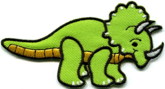 Triceratops dinosaur kids embroidered applique iron-on patch S-300