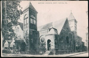 NEW-CASTLE-PA-Baptist-Church-Antique-B-amp-W-1906-Postcard-Early-Vtg-Town-View-PC