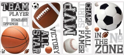 24 New Boys SPORTS WALL STICKERS Football Basketball Soccer Ball Baseball Decals