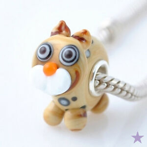 Spotted-Kitty-CAT-MURANO-GLASS-925-Sterling-Silver-EUROPEAN-BEAD-Charm