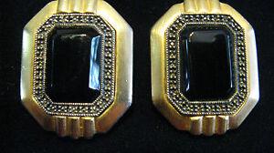 Vintage-Designer-Judith-Jack-Goldtone-Black-Onyx-with-Marcasite-Clip-On-Earrings