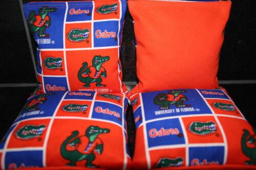 UNIVERSITY OF FLORIDA Gators 4 CORNHOLE BEAN BAGS GAME BAGGO Quality Handmade!