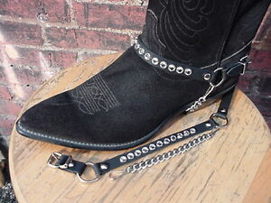 WESTERN BOOTS BOOT CHAINS LADIES BLACK LEATHER W CRYSTAL RHINESTONES SILVER HWRE