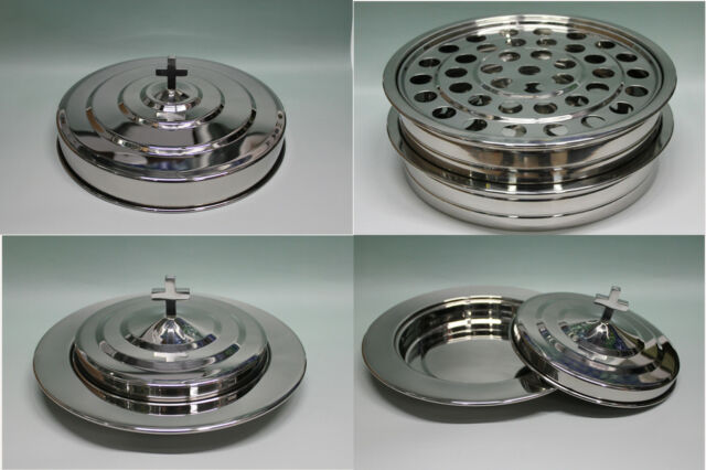 Silvetone--2 Stainless Steel Communion Trays with 1 lid and 2 Bread Trays set