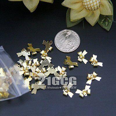 50pcs Fashion Charm Cute Gold Bow Pendant 15*10mm For Necklace Bracelet #271