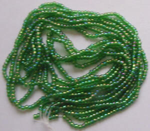 IRIDESCENT-AB-GREEN-SPARKLE-VINTAGE-12-0-GLASS-SEED-BEADS-HANK-LOT