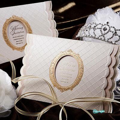 50Set Wedding Invitations Silk Printing Cards + Envelopes + Seals/ GA7008