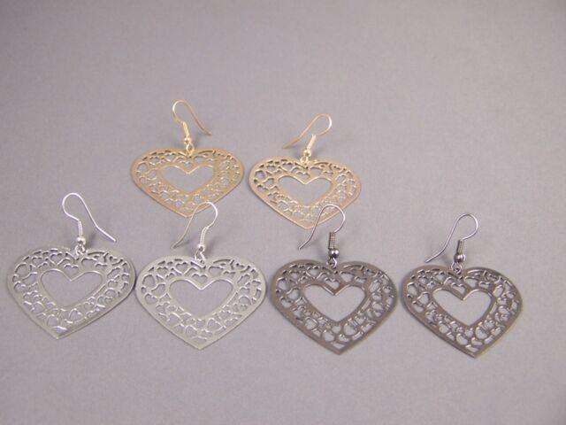 "Gold Silver Pewter set of 3 pair filigree heart earrings 1.75"" long lightweight"