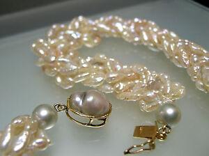 15 Choker Japan vintage Rice Pearl designer necklace 14k gold grey Biwa clasp