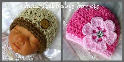 CROCHET PATTERN for Beautiful-Babys-Bonnets Chunky Unisex Beanie Hat 4 Sizes #47