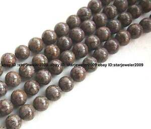 6mm-8mm-10mm-12mm-14mm-coffee-Snowflake-stone-round-Beads-15-034-new-gemstone