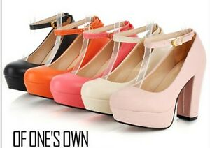 Ladies-Elegant-Ankle-Strap-Chunky-Block-High-Heel-Platform-Pumps-Shoes-252