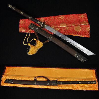 HIGH QUALITY HAND MADE CHINESE SWORD DAO (康熙寶刀) FOLDED STEEL BLADE NICE FITTINGS