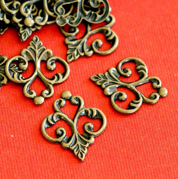 20pcs Antique Bronze Finish Brass Filigree Patchs