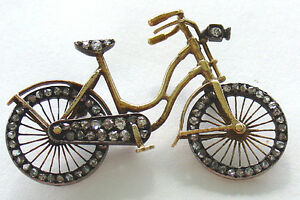 Bicycle-Pin-Brooch-14Kt-Gold-with-Rose-Diamonds-Movable-Wheels-Edwardian-Vintage