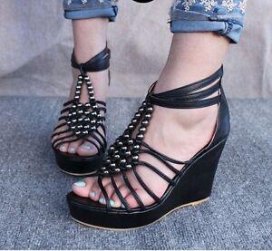 Women-Sexy-Roman-Bohemian-Strappy-Beaded-High-Heel-Platform-Wedge-Sandals-Shoes