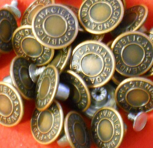 20MM BRONZE OR COPPER SILVER APPROX NO SEW HAMMER ON DENIM JEAN BUTTONS X 10