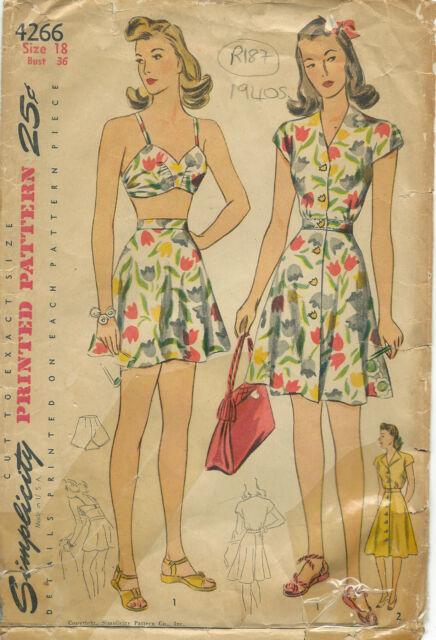 "1940s Vintage Sewing Pattern B36"" DRESS & BATHING SUIT (R187)"