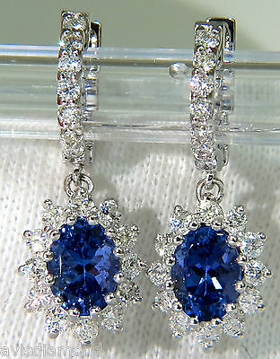 █$7000 3.64CT  NATURAL TANZANITE DIAMONDS DANGLE EARRING 14KT HOOP / CLUSTER█