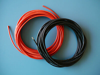 One Pair of 14 AWG / 14 Gauge Silicone Wires Silicon Cables (1m Red + 1m Black)