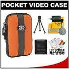 Tamrac 3814 Neoprene Neo's Pocket Video Camcorder/ Camera Case (Rust) with Tripod + Cleaning Accessory Kit for Kodak Pocket Video Zi8, Zi6, Zx5, Zx3, Zx1, ZxD, PLAYTOUCH, PLAYSPORT, PLAYFULL, Mini HD and Mini