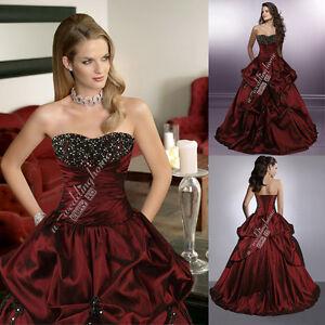 CUSTOM-MADE-BURGUNDY-amp-BLACK-Wedding-dress-GOTHIC-WEDDING-GOWN-BRIDAL-DRESS-U1842