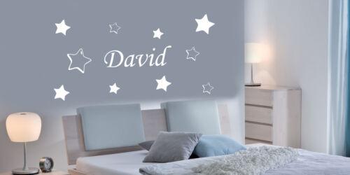 10 étoiles Personnalisé étoile mural art autocollant filles//garçons nom,