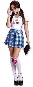 Womens-Nerd-Costume-Geek-Nerdy-Outfit-Sexy-School-Girl-Adult-M-Medium-L-Large