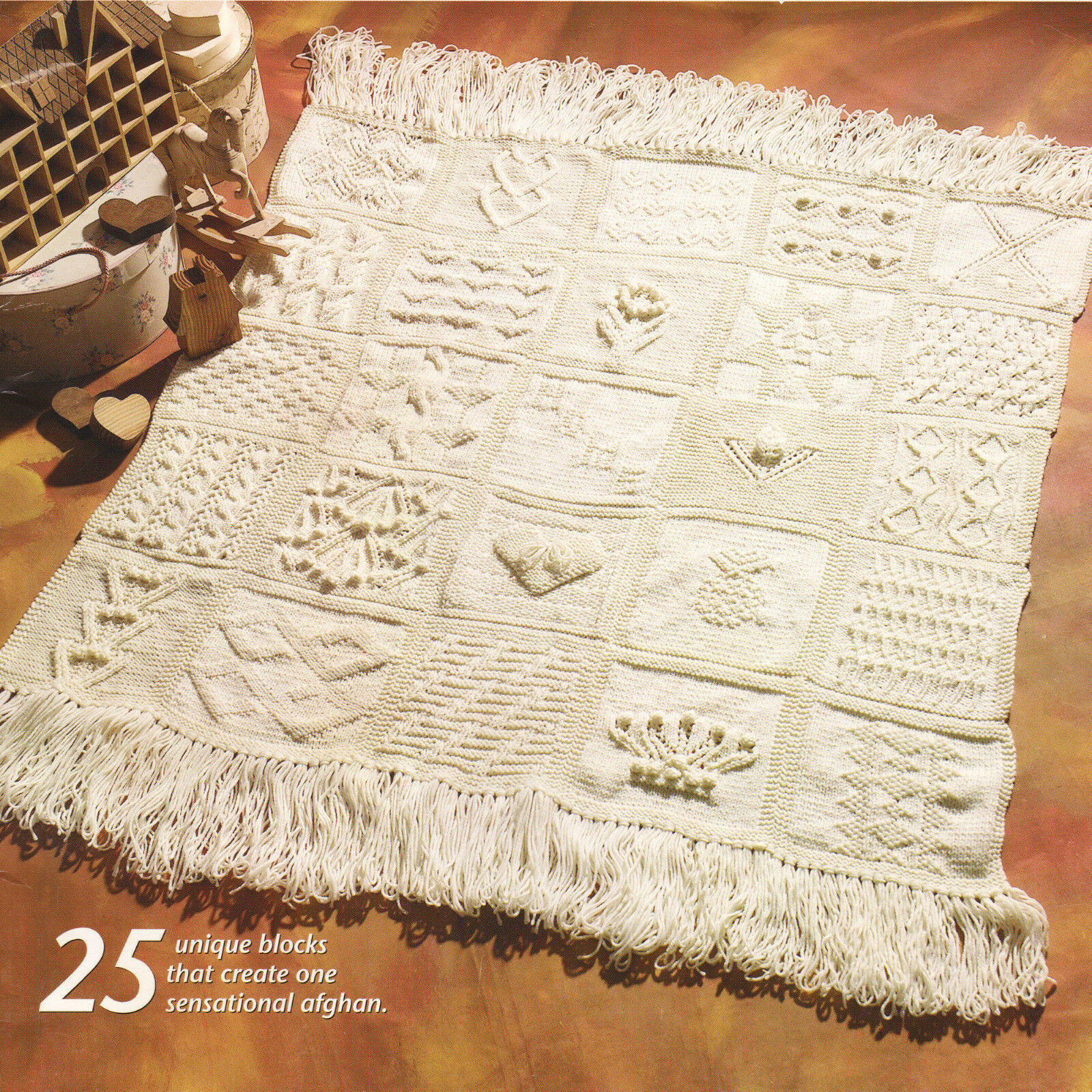 Sampler Afghan 25 Different Squares 48 X 48 Aran Wool Knitting