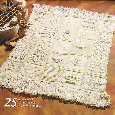 """Sampler  Afghan ~ 25 Different Squares 48"""" x 48"""" ~ Aran Wool Knitting Pattern"""