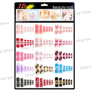 New-3D-French-Acrylic-False-Fake-Design-Toe-Pedicure-Nail-Tips-Wrap-Decorations
