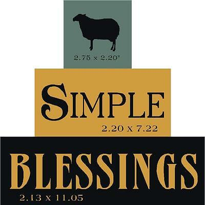 PRIMITIVE STENCIL SIMPLE BLESSINGS SHEEP BLOCK SET  .007 MIL FREE SHIPPING