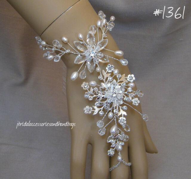 UK Handmade Bridal Wedding Prom Crystal Freshwater Pearl Forehand Bracelet
