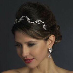 NWT-Antique-Silver-Plated-Crystal-Vine-Wedding-Bridal-Headband-Tiara