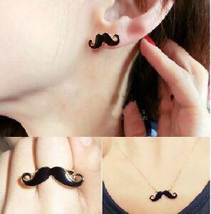 Fashion-Moustache-Handlebar-Mustache-Jewelry-Set-Necklace-Double-Ring-Earrings