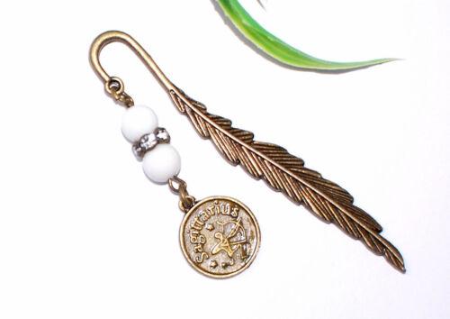 Horoskop lesen Buch Metall bronze Perlen AUSWAHL LESEZEICHEN Sternzeichen +