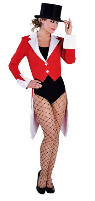 Ringmaster / Show Tailcoat - Deluxe Red / White , Ladies - sizes 6 - 22