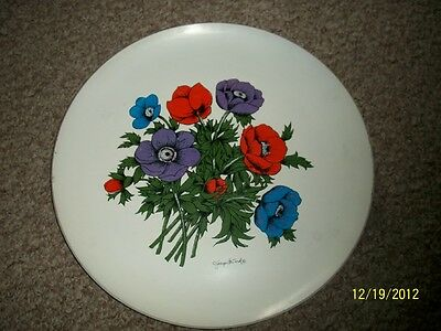 "LG 14"" VTG serving tray Georges Briard Floral DECOR ROUND MELAMINE RARE FIND!"