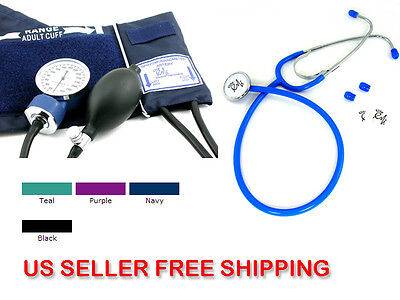 US Seller New BP Blood Pressure CUFF and Economy Stethoscope Kit- BLACK #300