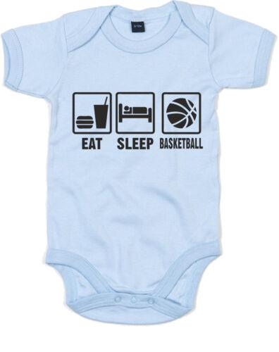 Eat Sleep Play Basketball inspired Kid/'s Printed Baby Grow Cute Sleep Suit Gift