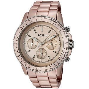 Fossil-Watch-CH2707-Women-039-s-Stella-L-Chronograph-Blush-Dial-Blush-Aluminum