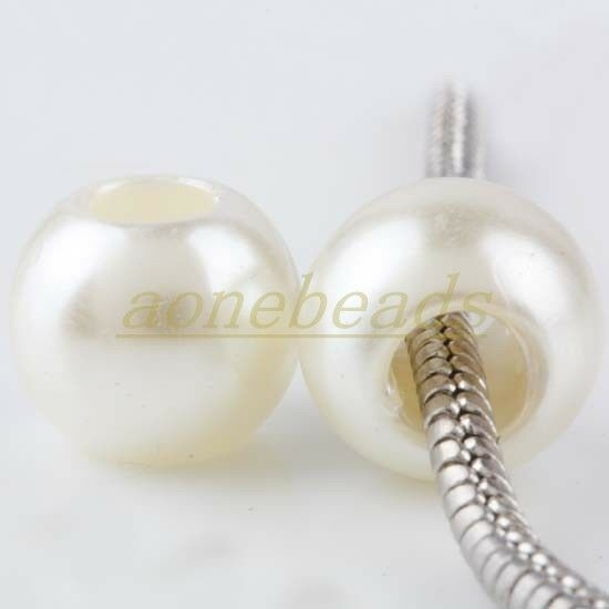 Acrylic Faux Imitation Pearl Rondelle European Big Hole Beads Charm Findings