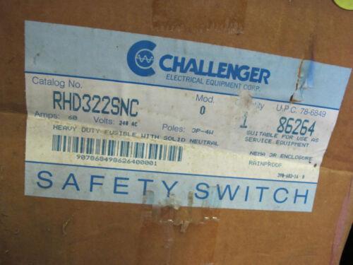 Nema 3R 240 Volt 3P4W NEW-B Challenger RHD322SNC 60 Amp Fusible Disconnect