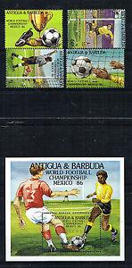 ANTIGUA & BARBUDA SET OF 4 & MINIATURE SHEET FOOTBALL WORLD CUP 1986 ALL MNH