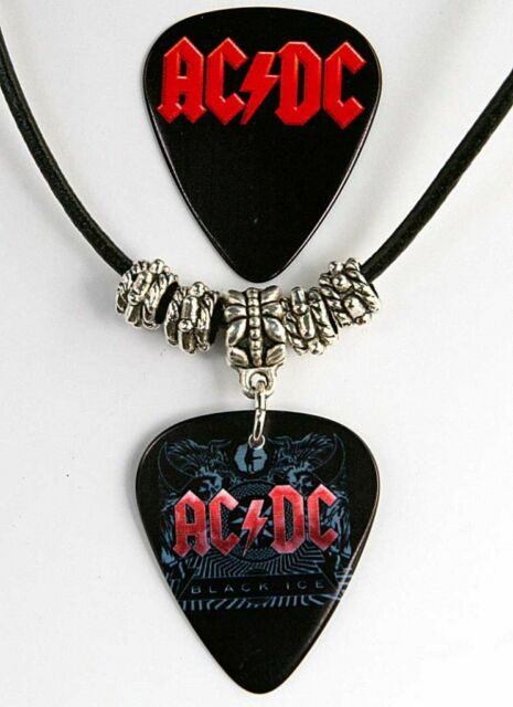 AC/DC Guitar Pick Leather Necklace + Matching Plectrum